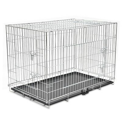 "48"" Dog Cage Crate Pet Kennel Puppy Cat Rabbit Metal Collapsible 2 Door House"