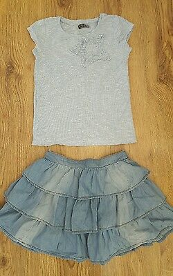Girls Next Blue Top & Skirt Set Of 2 Outfit Age 8 Years In Excellent Condition