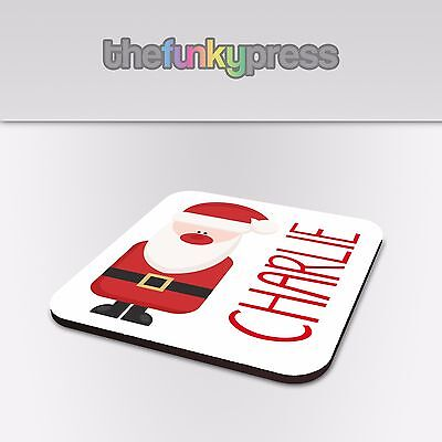 Printed Personalised Coaster Christmas Name Santa Elf Snowman Rudolph Gift