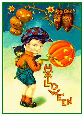 Halloween Scene # 440 Little Witch Kitty Cat Counted Cross Stitch Pattern