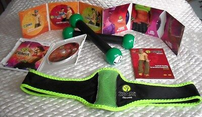 Wii ZUMBA KIT 7 DVDs FITNESS BELT TONING STICKS INSTRUCTION GUIDE JOIN THE PARTY