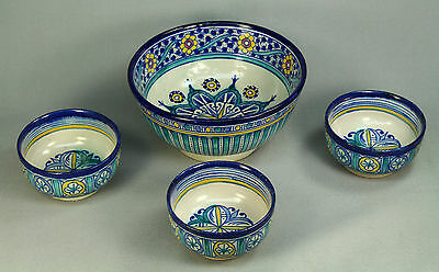 *Hand Painted MOROCCAN Set of 3+1 Glazed Earthenware Bowls Signed Islamic