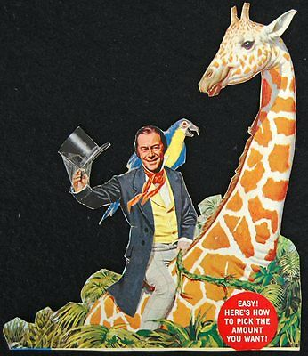 [ 1960s Post CEREAL BOX Back - Dr. Doolittle and Giraffe - Vintage ]