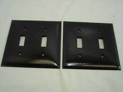 Lot of 2 Vintage Circle F Brown Double Switch Cover Plate Smooth NOS #24