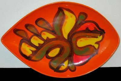 Poole Pottery DELPHIS Oval Orange Plate Hand Painted by Pamela Bevans