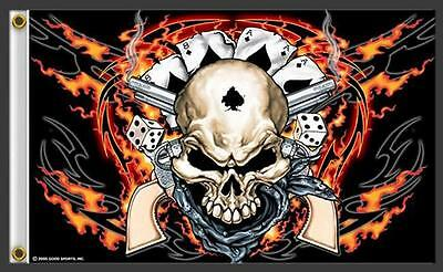 SKULL WITH PISTOLS ACE CARDS 3 X 5 MOTORCYCLE BIKER FLAG #350 NEW 5X3 Feet GUNS