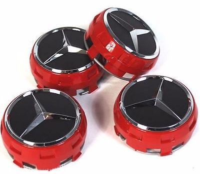 NEW 4 PCS 75mm / 3 INCH AMG RED WHEEL BADGE CENTER CAPS FOR AMG C E CLS S