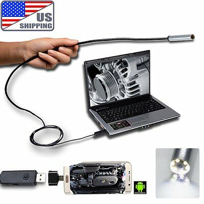 USB Endoscope Borescope Inspection Waterproof Camera Flexible Cable OTG Android