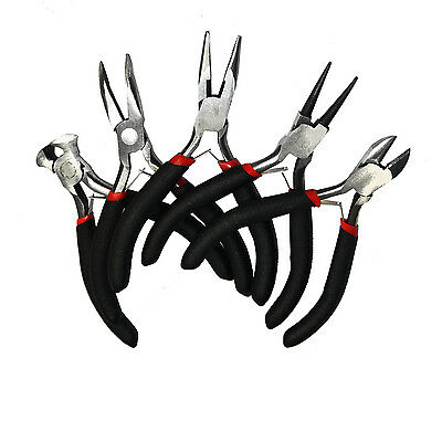 5 Pcs Round Bent Nose Beading Pliers End Side Cutter Jewellery Making Tool Set