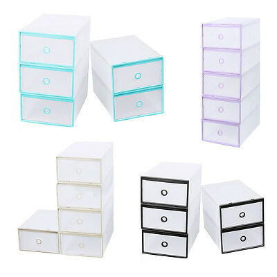 5Pcs Stackable Clear Plastic Shoe Box Home Storage Boxes Office Organiser Drawer