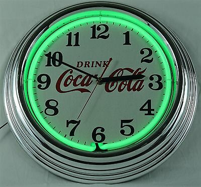Neon Green Drink Coca Cola Wall Clock with Chrome Body - Tested and Working