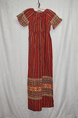 Vintage 70's Guatemalan Woven Embroidered Maxi Dress BOHO Hippie Red Dress