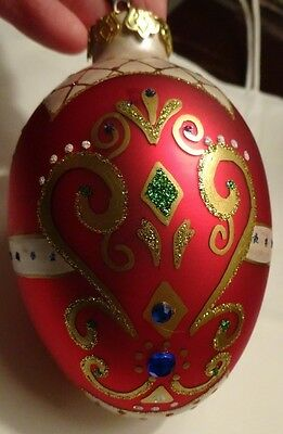 Department 56 Christmas Ornament Egg Shaped Embellished Red Blue Painted Glass