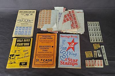 Vintage lot of mid 1900's Stamp Profit Sharing Books with stamps extra stamps