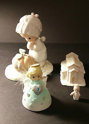 Lot of 4 PRECIOUS MOMENTS Figurines Oct 1988, 1992, 2004 Nice Condition