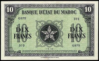 Morocco 10 Francs 1943 Xf++  Scarce French Colonial Banknote See Photos!!