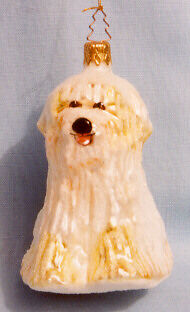 Bearded Collie Beardie Handblown Glass Christmas Ornament