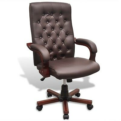 Brown Executive Office Chair Captain Chesterfield PU Faux Leather Arm Swivel