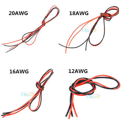 2M 12AWG-20AWG Flexible Silicone Wire RC Lipo Battery Cable (Red 1M + Black 1M)