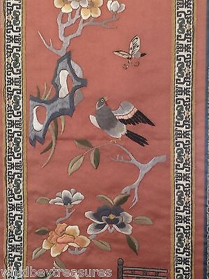"Vintage Chinese Framed Silk Embroidery Art 26""x11"" Tree, Bird, Flowers Bridge"