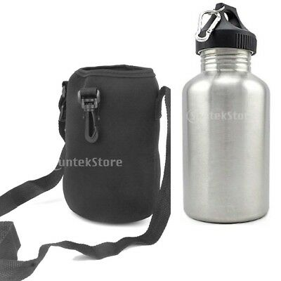 2L Stainless Steel Water Drink Bottle Cycling Sports with Carrier Bag Holder