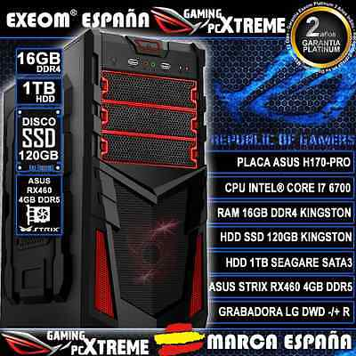 ORDENADOR PC GAMING CORE i7 6700 16GB DDR4 SSD 120GB 1TB HDD ASUS RX460 4GB DDR5