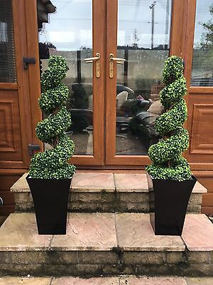 2 X 3ft High Artificial Spiral Trees With 2x Black Planters