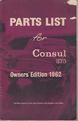 Ford Consul Mk2 Saloon & Convertible 1956-62 Orig. Owners Illustrated Parts List