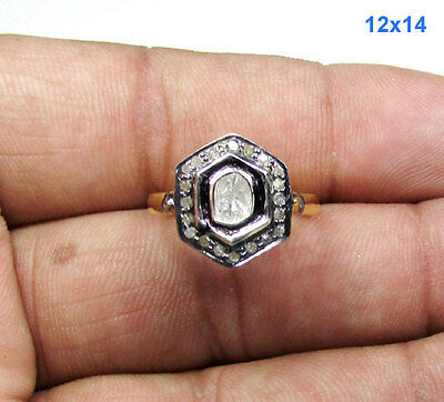 0.42 CT Rose Diamond Polki Victorian, Sterling Silver Antique Ring-Size-5.5 US