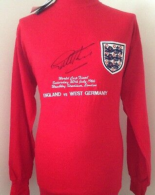 England 1966 Embroidered Shirt Signed By Geoff Hurst With Guarantee