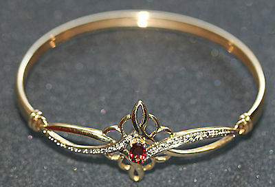 Genuine  Real 9 Ct Solid Yellow Gold Women's Bangle With Diamonds  No Scrap