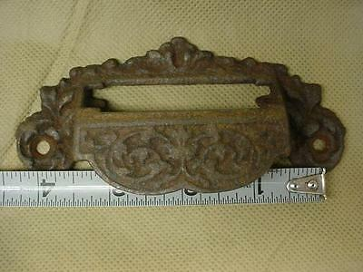 Antique VINTAGE Cast Iron  ORNATE GRAIN BIN, HARDWARE DRAWER PULL EASTLAKE