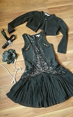 girls dress christmas outfits, flapper 20s gatsby party M&S, feather silver 8-9