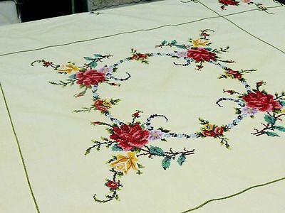 Stunning Vintage Lemon Cotton Hand Embroidered Roses Tablecloth