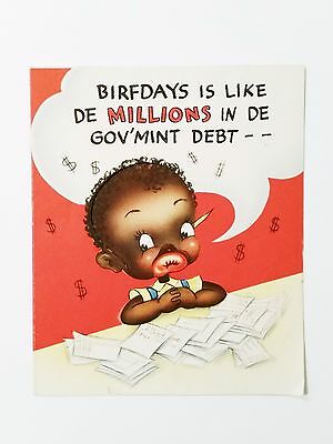 Vintage 1940's Black Americana Birthday Card, Birfday Humor American Greetings