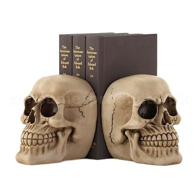 Skull Book Ends Novelty Gift Bookends Pair Ornament Gothic Skulls