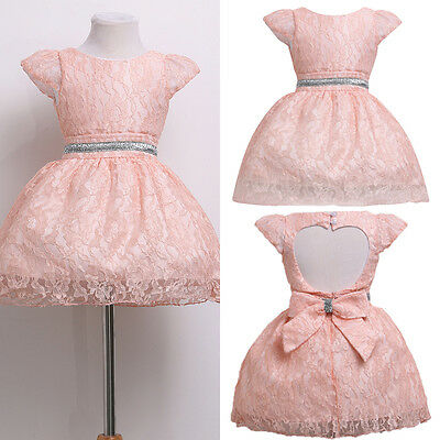 Baby Girl Flower Kid Bridesmaid Wedding Party Formal Pageant Backless Tutu Dress