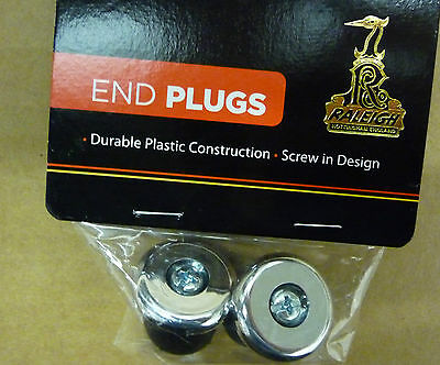 Raleigh Screw in Handlebar End Plugs Bar Caps Bike Cycle Road Drop  CHROME