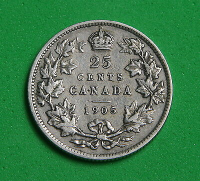CANADA - Silver 25 Cents 1905