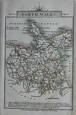 Original antique map NORTH WALES, ANGLESEY, CARDIGAN BAY, John Cary, 1819