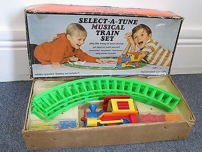 Vintage Battery Operated Toy Train Set Play Art Select a Tune Musical Boxed 70's