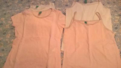 Benetton- used set of 4 girl vests, white and pink, 3-4&6-7 years