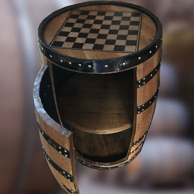 """Recycled Solid Oak Whisky Barrel """"Balmoral"""" Chess Board Drinks Cabinet"""