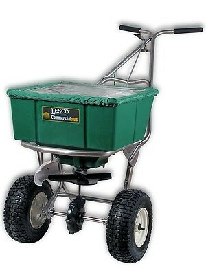 Lesco High Wheel Fertilizer Spreader with Manual Deflector Plus Cover #101186
