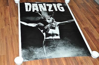 "vintage Giant DANZIG poster 39x55"" from 1990 B&W demon devil on cross misfits"