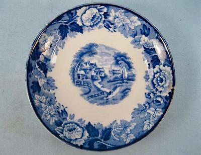 English Scenery Blue Saucer For Demitasse Cup Wood & Son Transferware (O2) AS IS
