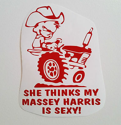 MASSEY HARRIS decal TRACTOR  pull pulling trailer plow STICKER mower RED