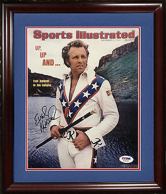 Evel Knievel signed 8x10 SI Cover photo framed MINT autograph PSA /DNA COA