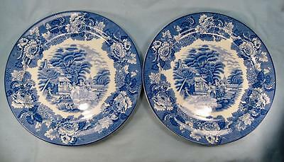 2 English Scenery Blue Dinner Plates Wood & Sons England Blue Transferware (O2)