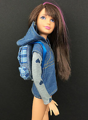 NEW Modern Skipper Doll Clothes ~ DENIM Jacket Top + Backpack Lot Casual Outfit